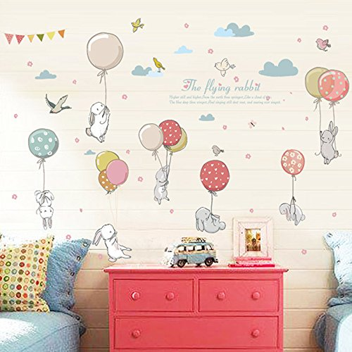 Inveroo Cartoon Clouds Diy Mural Cute Balloon Rabbit Bunny Wall Sticker For Kids Room Decor Furniture Wardrobe Bedroom Living Room Decal Buy Products Online With Ubuy Ghana In Affordable Prices B07wzzq413