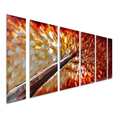 Buy Pure Art Gazing Skyward At Sunset Metal Wall Art Large Colorful Metal Wall Art Decor In Abstract Botanical Design 3d Wall Art For Modern And Contemporary Decor 6 Panels 24 X 65 Online