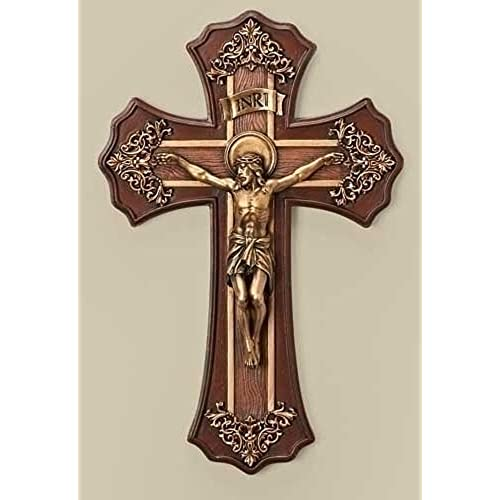 Buy Roman 10 25 Victorian Style Oak And Antique Gold Finish Crucifix Wall Cross Online In Ghana B00dl621dy