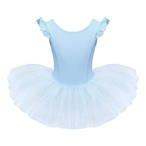 IDOPIP Girls Sequins Ruffle One Shoulder Ballet Dance Dress Tutu Skirted Leotard Ballerina Dancewear Costume for Toddler Kids