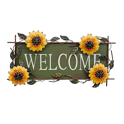 Buy E View Sunflower Welcome Sign Decorative Vintage Metal Wall Hanging Home Garden Decor Welcome Plaque For Front Door Garden Themed Online In Ghana B07psl8594