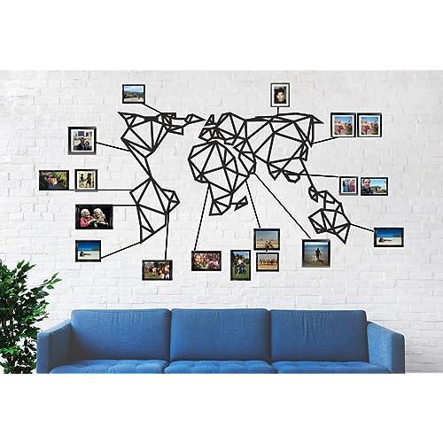 Buy Dekadron World Map Wall Art Geometric World Map 3d Wall Silhouette Metal Wall Decor Home Office Decoration Bedroom Living Room Decor Sculpture 24 W X 13 H 61x33cm Online