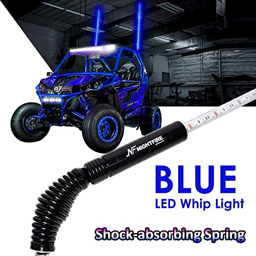 Nf Nightfire Led Whip Blue 5ft Flag Pole Light Wquick Release Shock Absorbing Spring Atv Safety Flags Lighted Antenna Light Whips For Rzr Utv Quad Buggy Whips One Unit Buy Products Online