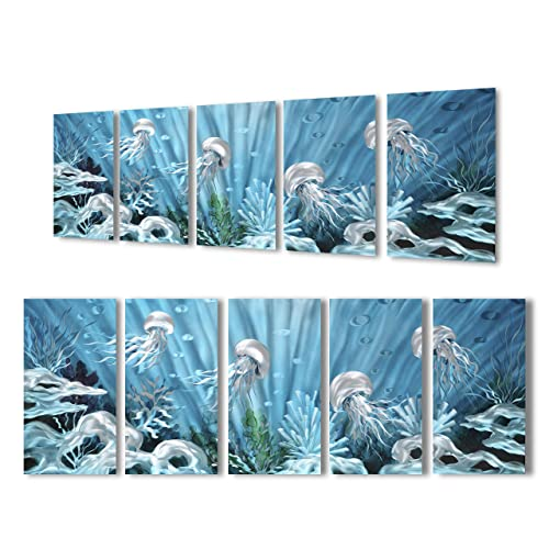 Buy Yihui Arts Blue Deep Ocean Extra Large Jellyfish Metal Wall Art In Modern Ocean Design 3d Wall Art For Modern And Contemporary Decor 5 Panels Metal Wall Decor Works Indoors And Outdoors